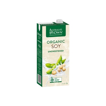Australias Own Organic Soy Milk Unsweetened 1ltr