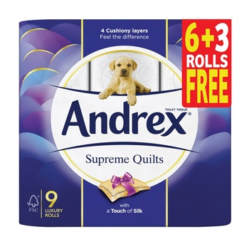 Andrex Toilet Tissue Supreme Quilts 9 Rolls x 241 Sheets x 2 Ply  (6 + 3 Rolls Free)