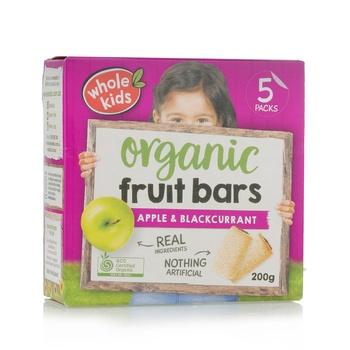 Wholekids Organic Fruit Bars Apple & Blackcurrant 200g