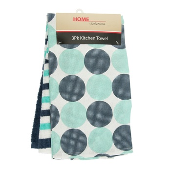 Home Selection Kitchen Towel 3 Pack-Navy Blue