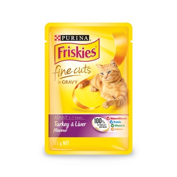 Purina Friskies Fine Cuts In Gravy Turkey & Liver 85g