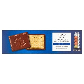 Tesco Milk Chocolate Coated Biscuits 125g