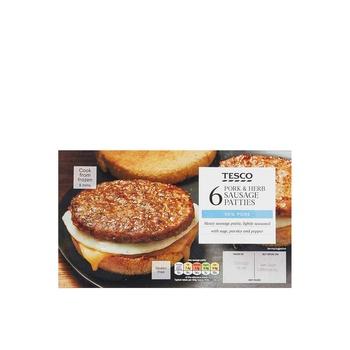 Tesco 6 Pork & Herb Sausg Pattie 342g