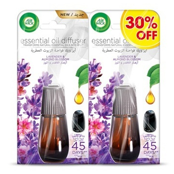 Air Wick Air Freshener Essential Oil Diffuser Refill, Lavender & Almond Blossom 20mL 30 % Off Twin Pack