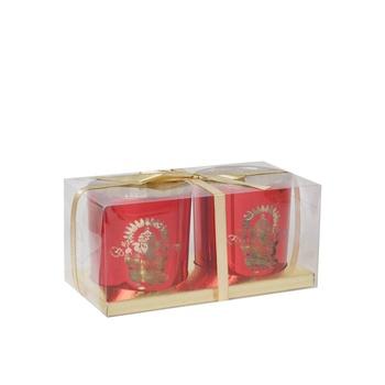 Ganesh Printed Tea Light Holder Red 2 pcs
