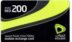 Etisalat Mobile Recharge Card 200 AED