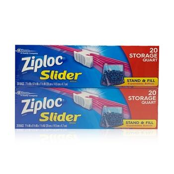 Ziploc Slider Storage Bags Quart 2 x 20 Bags @ Special Price