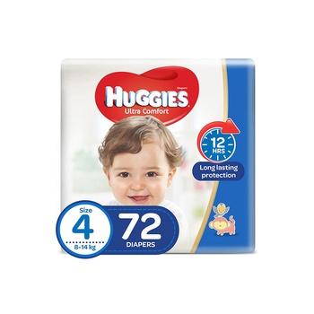 Huggies Ultra Comfort Diapers Size 4 Jumbo Pack 8-14 Kg 72 Diapers Pack Of 2