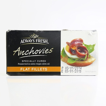 Always Fresh Flat Fillets Anchovies 45g