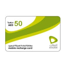 Etisalat Mobile Recharge Card 50 AED