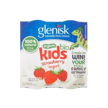 Glenisk Kids Strawberry Yoghurt 4X90G