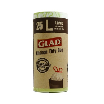 Glad Kitchen Tidy Bags Degradeable Plus White Large 60 X 70 25 pcs