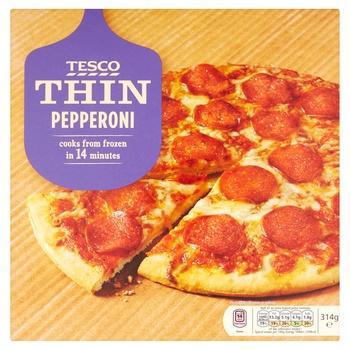 Tesco Thin Pepperoni Pizza 314g