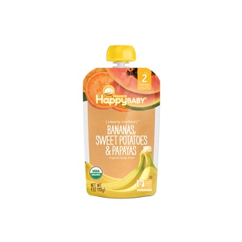 Happy Baby Organics Clearly Crafted Stage 2 Bananas, Sweet Potatoes & Papaya 113g Pouch