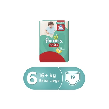 Pampers Pants Diapers Size 6 Extra Large 16+kg Carry Pack 19 Count