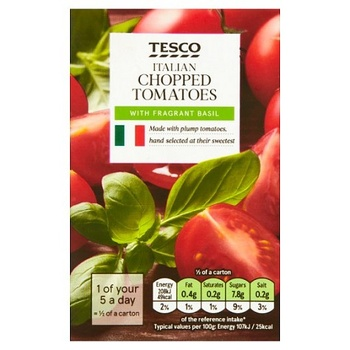 Tesco Chopped Tomato With Basil 390g