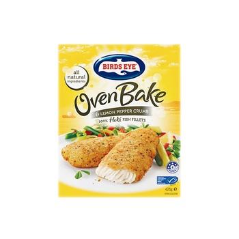Birds Eye Oven Bake  6 Lemon Pepper Crumb Hoki Fish Fillets 425g