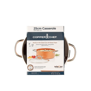 Copper Chef Round Casserole Pan with Glass Lid 25cm