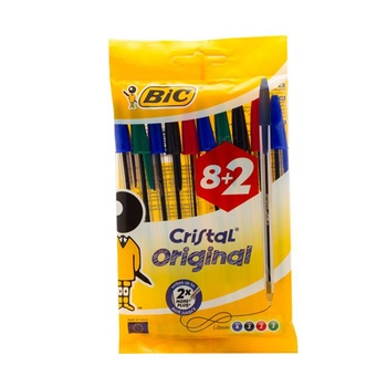 BIC Stic Exact Ball Pen Blue Blk 6+2