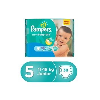 Pampers Active Baby-Dry Diapers, Size 5 Junior, 11-16 Kg, Value Pack, 38 Diapers