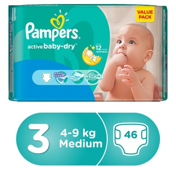 Pampers Active Baby 3 Medium (4-9kg) 46pcs