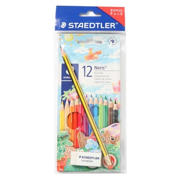 Staedler Colour Pencil 12 pack + HB Pencil+ Eraser