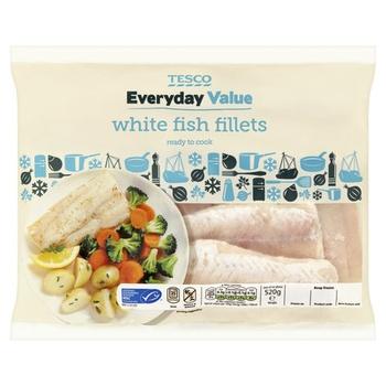 Tesco Everyday Value White Fish Fillets 520g