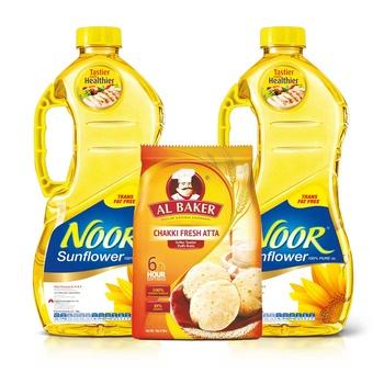 Noor Sunflower Oil 2 x 1.5L + Al Baker Chakki Atta 1Kg