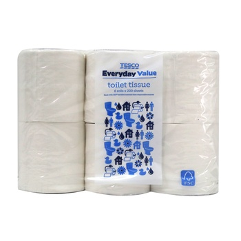 Tesco Everyday Value Toilet Tissues 6 Rolls X 200 Sheets