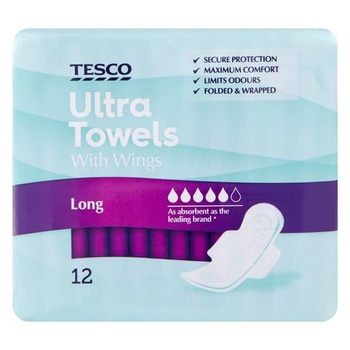 Tesco Ultra Super Towels With Wings 12s