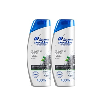 Head & shoulders charcoal detox anti-dandruff shampoo 400ml Pack of 2