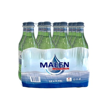 Maeen Mountain Carbonated Natural Mineral Water in Glass Bottle 330ml pack of 12