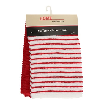 Home Selection Kitchen Towel 4 Pack-Red