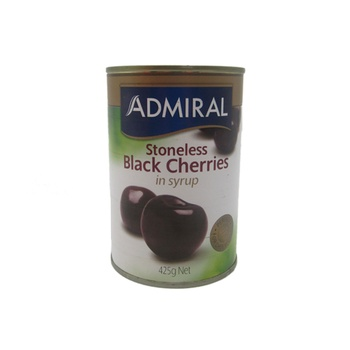 Admiral Stoneless Black Cherries In Syrup 425g