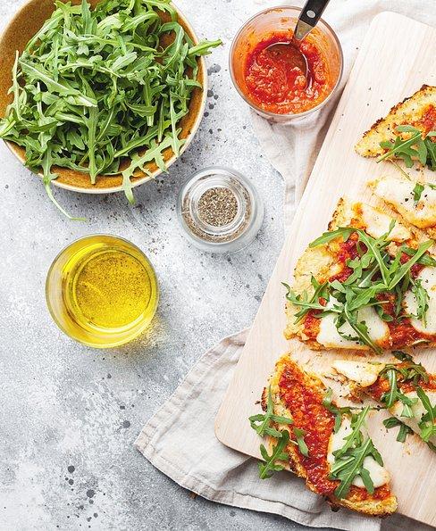 Cauliflower pizza crust with Mozzarella cheese