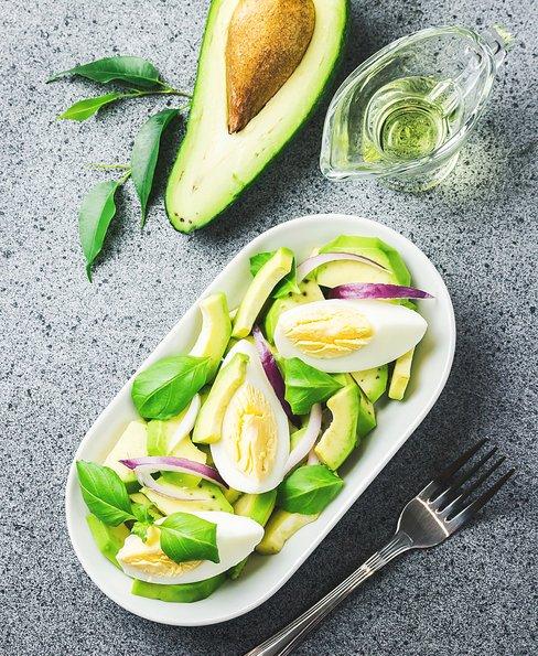 Fresh summer avocado egg salad with lemon dressing