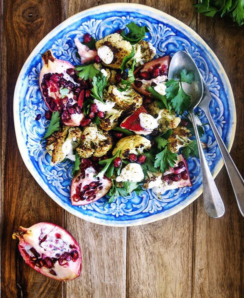 Roasted cauliflower & pomegranate salad