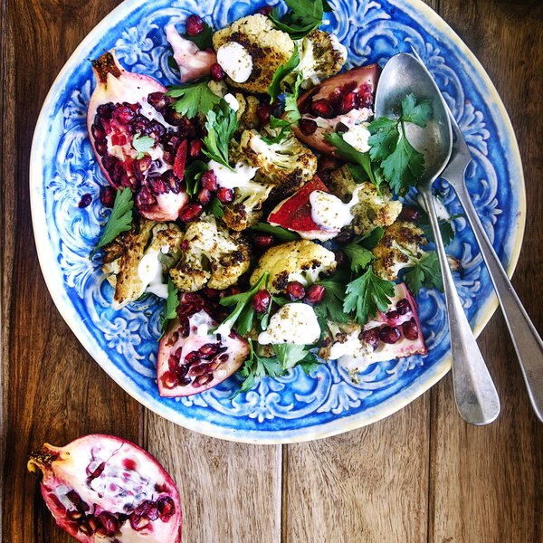 Roasted cauliflower & pomegranate salad