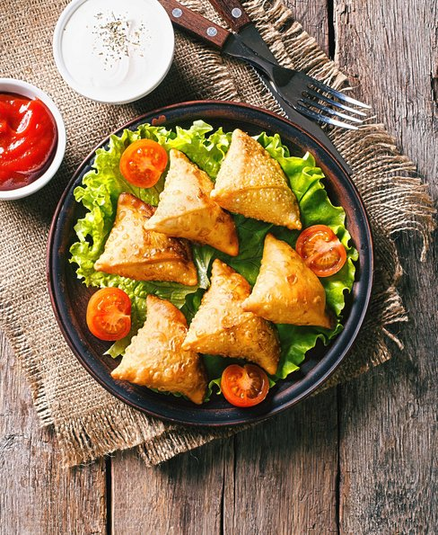 Delicious samosa pies with minty yoghurt