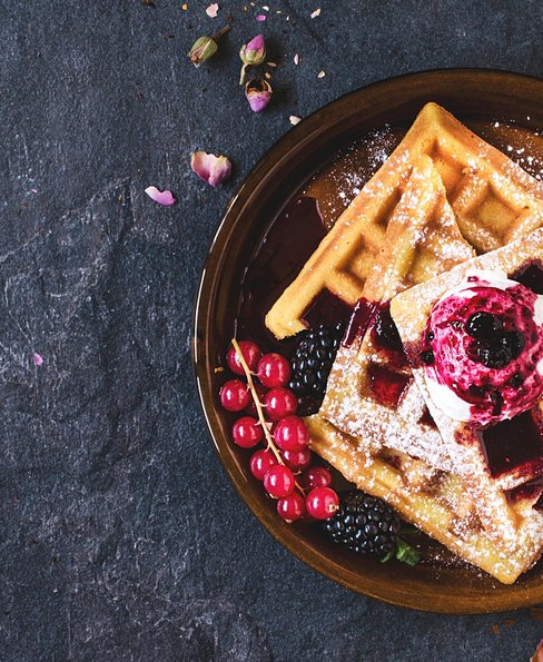Traditional Belgian waffles with berry fruit jam